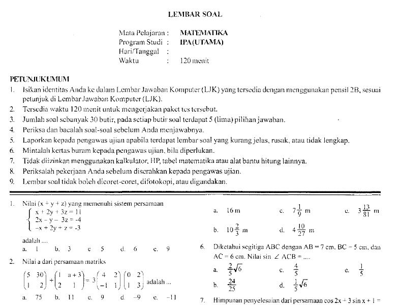 Prediksi Soal Ujian Nasional Sma 2008 Soalujian Net