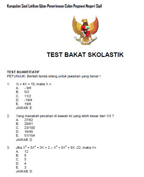 27 Contoh Soal Bahasa Indonesia Untuk Tes Cpns Kumpulan Contoh Soal