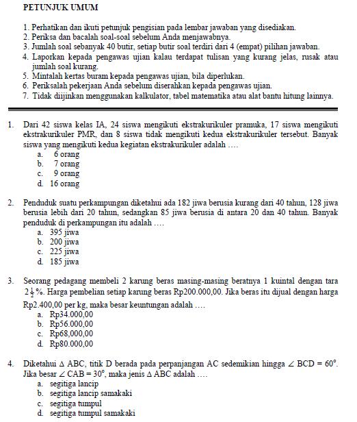 Soal Ujian Nasional Smp 2003 Soalujian Net