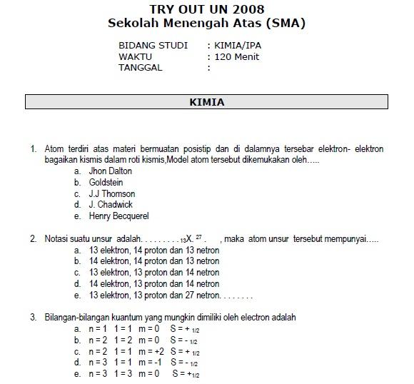 Fifth image of Try Out Ujian Nasional Smp Sederajat with Soal TryOut Ujian Nasional Kimia SMA 2008 - SoalUjian.Net