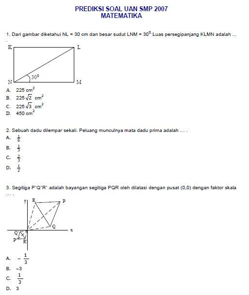 Prediksi Ujian Nasional Smp Matematika 2007 Bank Soal Ujian