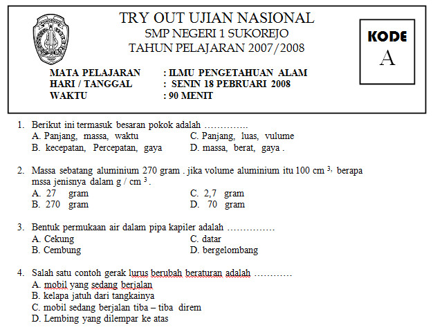 Soal Tryout Ujian Nasional Sma Ipa Bank Soal Ujian New