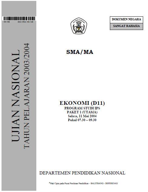 Soal ujian nasional ekonomi sma ips 2004 bank soal ujian