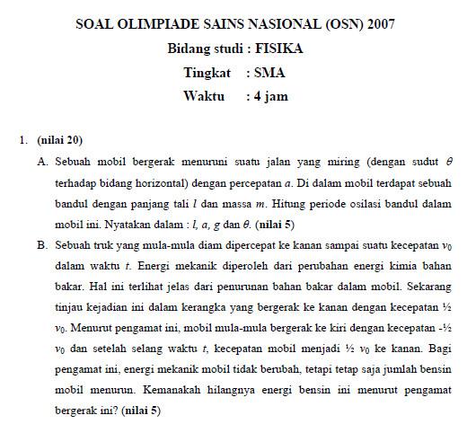 Soal Dan Pembahasan Olimpiade Sains Nasional Osn 2007 Bidang Fisika Sma Soalujian Net