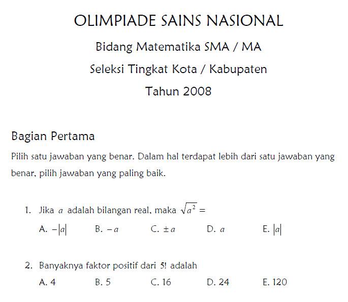 Soal Seleksi Olimpiade Sains Nasional Bidang Matematika Sma 2008 Bank Soal Ujian