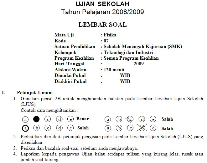 Soal Ujian Akhir Sekolah Smk 2009 Soalujian Net