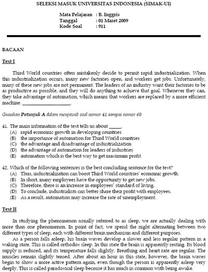 Soal Seleksi Masuk Universitas Indonesia Simak Ui 2009 Soalujian Net