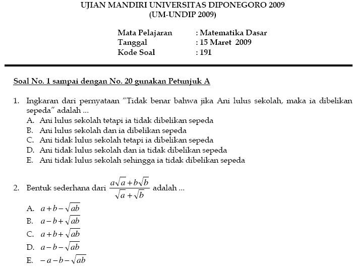 Ujian Mandiri Undip 2009 Bank Soal Ujian