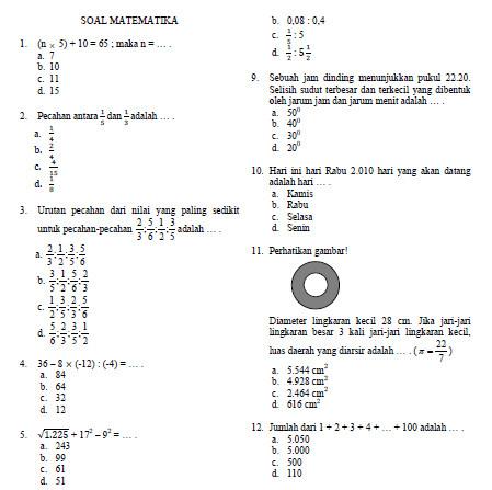Olimpiade Matematika Sd Bank Soal Ujian