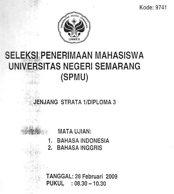 Soal Seleksi Penerimaan Mahasiswa Unnes 2009 Soalujian Net
