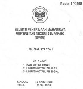 Soal Seleksi Penerimaan Mahasiswa Unnes 2008 Soalujian Net