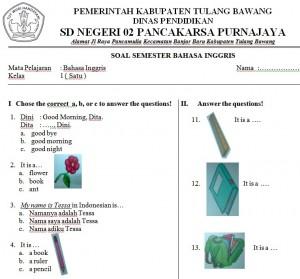 Soal Bahasa Inggris Sd Kelas 1 Bank Soal Ujian