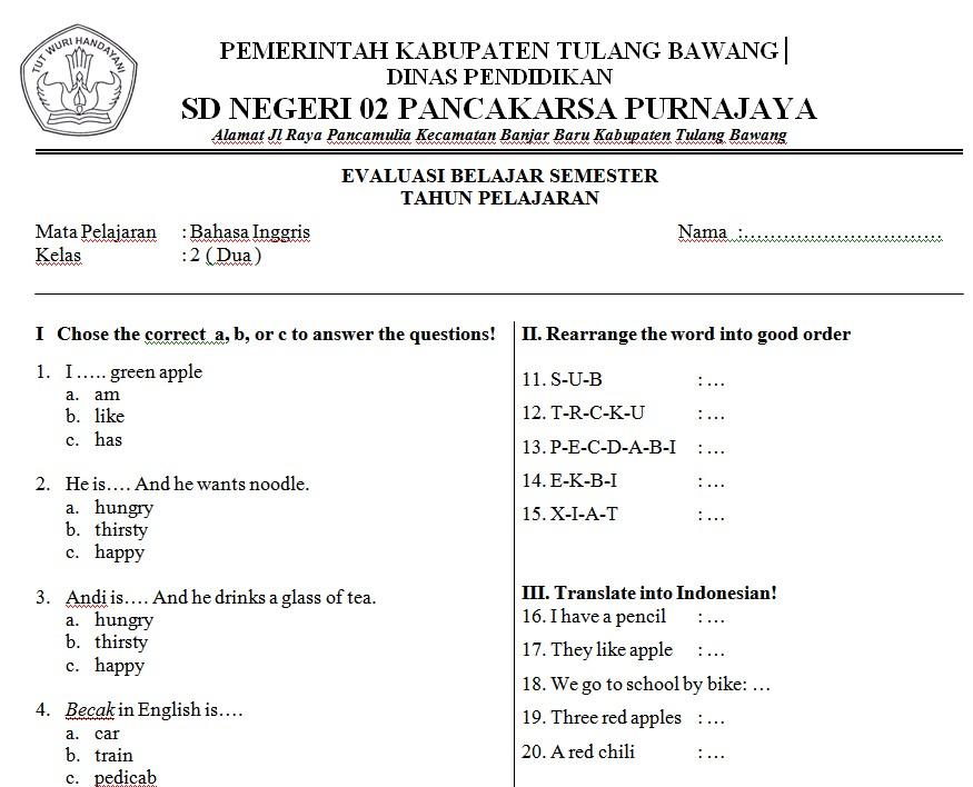 Download Soal Uts Bahasa Inggris Kelas 5 Sd Semester 1