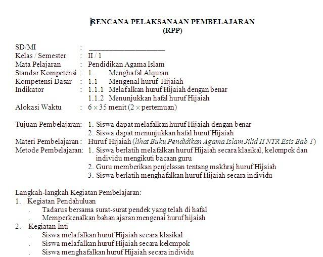 Islam Sd Ujian Kelas Soal Agama Contoh 1 Rpp Ujian Bank Soal Islam Pendidikan Agama Sd