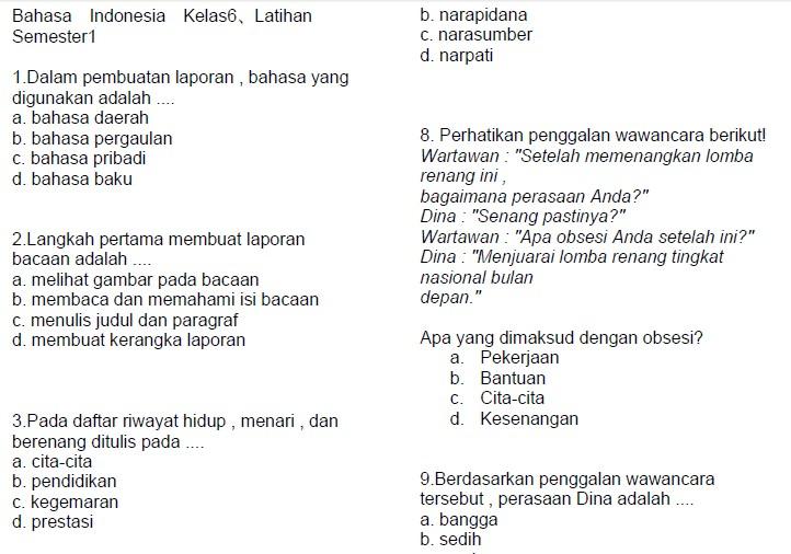 Soal latihan bahasa indonesia sd kelas 6 semester 1 soalujian net