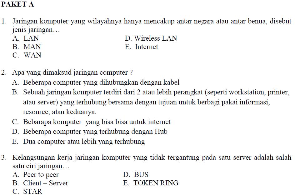 Soal Prediksi Ujian Nasional Tkj Smk 2010 Soalujian Net