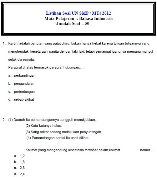 Download Soal Ujian Nasional Smp 2012 Bank Soal Ujian