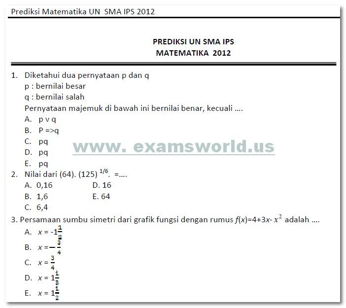 Soal Un Matematika Sma 2012 Bank Soal Ujian
