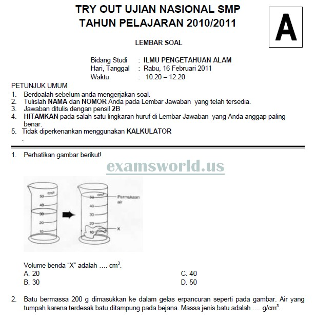 Soal Tryout Ujian Nasional Smp 2011 Soalujian Net