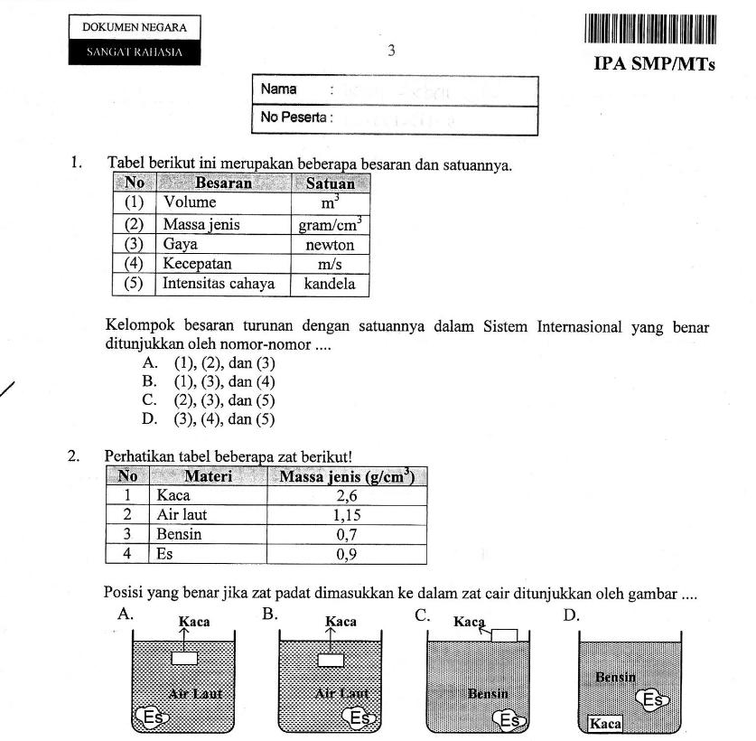 Lengkap soal ujian nasional 2013 tingkat smp mts bank soal ujian