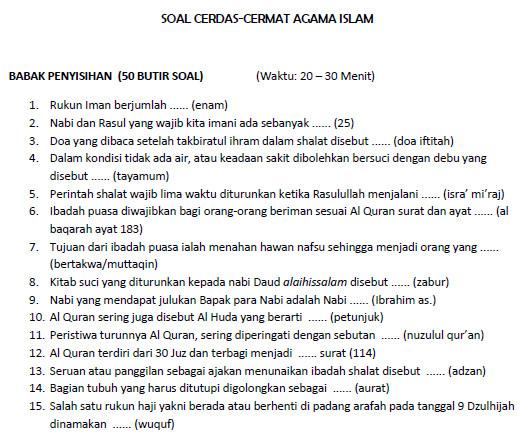 Soal Cerdas Cermat Sd Agama Islam Contoh Soal Cerdas