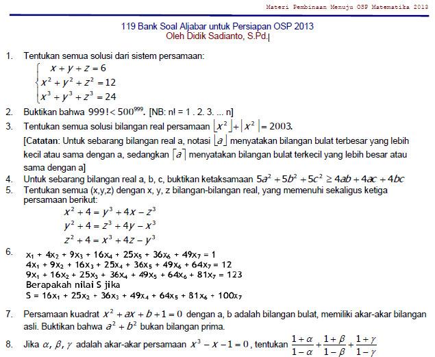 Bank Soal Aljabar Persiapan Olimpiade Matematika Soalujian Net