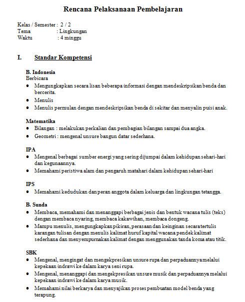 Rpp Kelas 2 Sd Kurikulum 2013 Tema Lingkungan Contoh Rpp