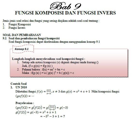 Kumpulan Soal Fungsi Komposisi dan Invers
