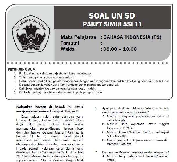 Soal Latihan Bahasa Indonesia Kelas 6 Bank Soal Ujian