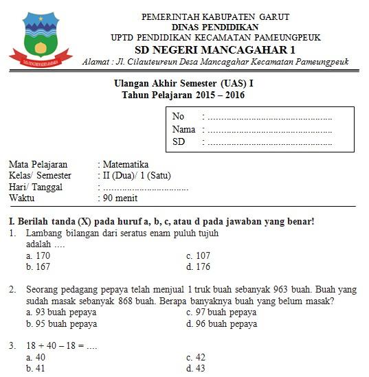 Soal UAS SD Kelas 2 Semester 1