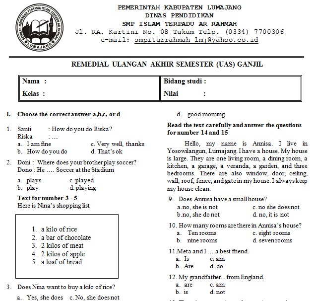 Kumpulan Soal Uas Bahasa Inggris Smp Kelas 7 Semester 1 Soalujian Net